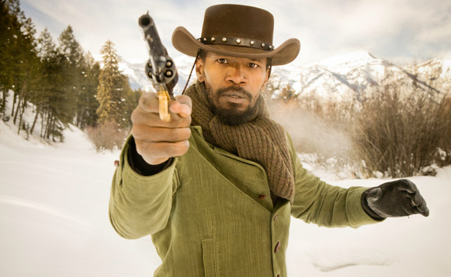 django unchained tells the story of a freed slave who teams with a bounty hunter to get revenge on a plantation owner django briefly struts in a blue