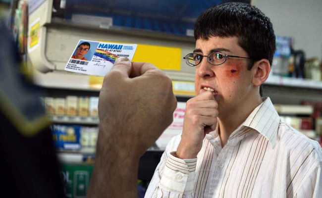 in superbad fogell christopher mintz plasse uses a fake id to buy alcohol for a party on the downside the fake id is not too subtle issued by the - Superbad Halloween Costumes