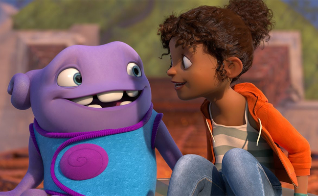 In The Movie Home Gratuity Tip Tucci Voiced By Rihanna Teams Up With An Alien Named Oh From Boov Race To Save Planet Earth Being Destroyed