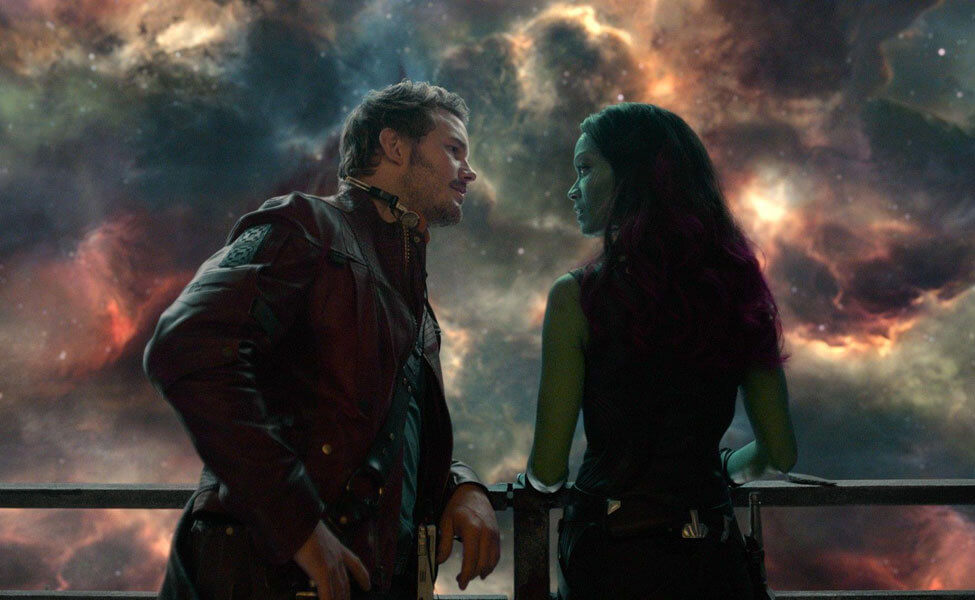 Peter Quill and Gamora in Guardians of the Galaxy Vol 2