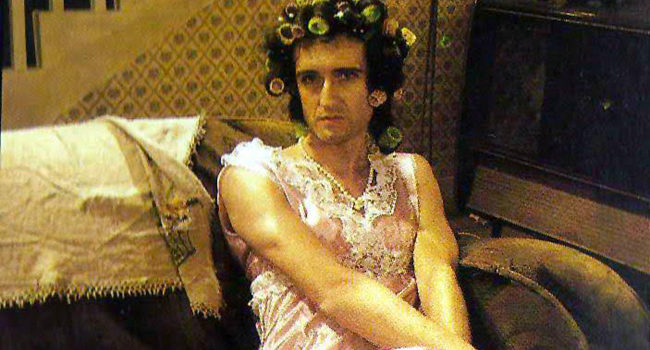 "Brian May as Hilda Ogden  from ""I Want To Break Free"""