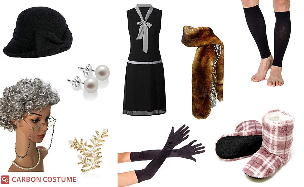 """John Deacon as Ena Sharples in """"I Want To Break Free"""" Costume"""