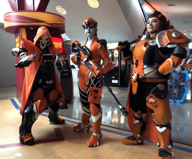 Philly Fusion Reaper / Widowmaker / Brigitte cosplays from Overwatch by @xealzega @s_noelle_cosplay & @alisonjefferycosplay