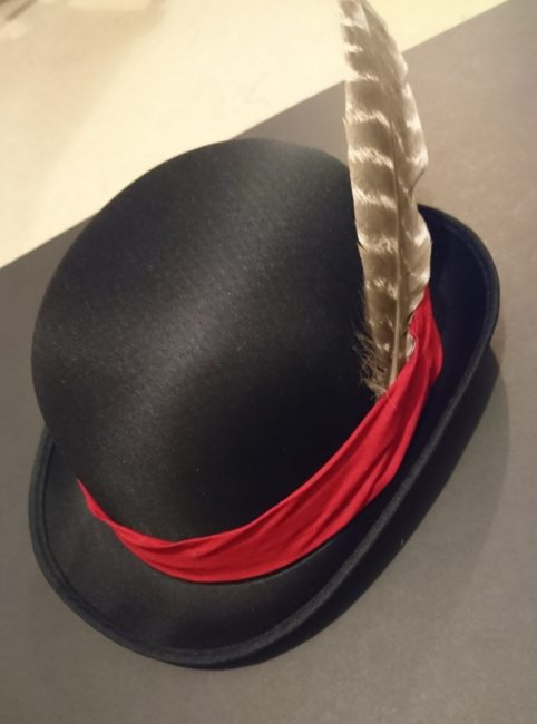 Finished hat with added feathe