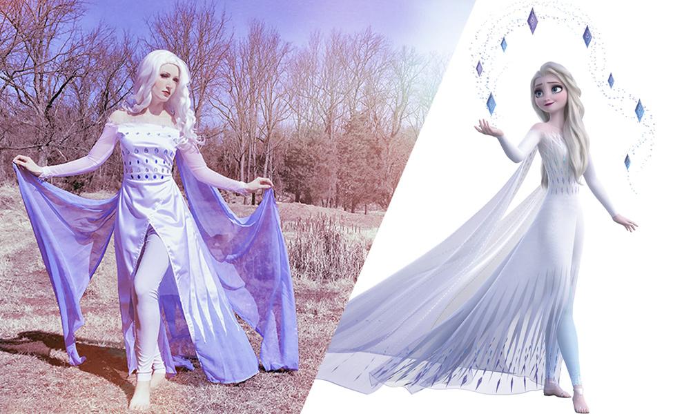 Queen Elsa White Dress Costume from Frozen 2