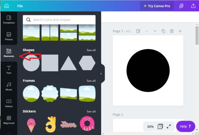 Screenshot of Canva workspace