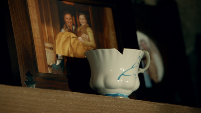 Belle's chipped cup on display