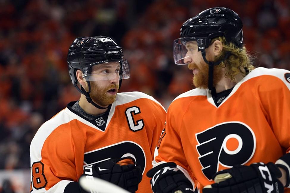 Claude Giroux and Jakub Voracek from the Flyers